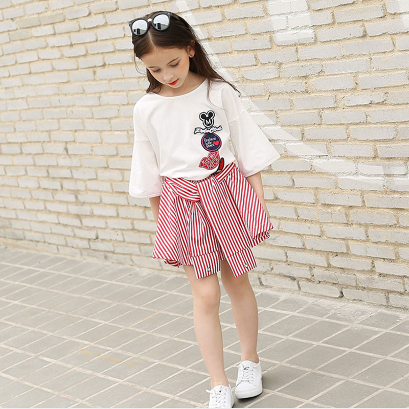 Teenage Girls Clothing Sets 2pcs Summer fashion Kids Cotton Tops+Striped Skirts Girl Outfits children costumes68 10 12 14 16Year infant kids baby girls off shoulder floral tops skirt outfits sunsuit enfant children girl solid blue top print skirts 1 6y