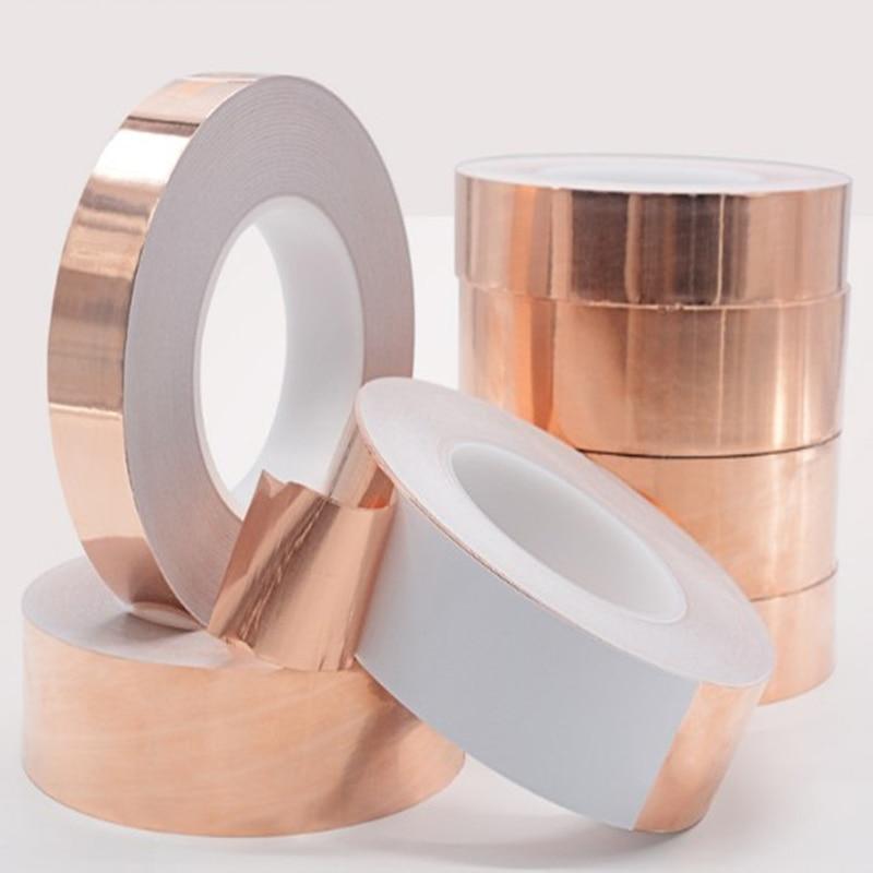 20 Meters 5/6/8/10/15/20/30/40/50mm Single Conductive Adhesive Copper Foil Tape EMI Shielding Heat Resist For Electric Guitar