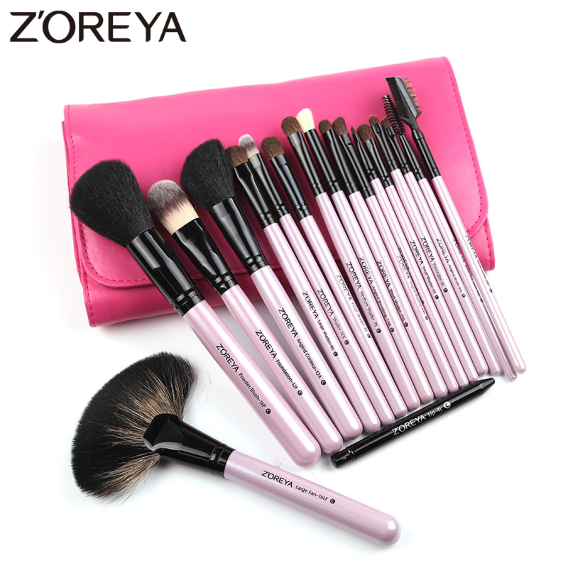 ZOREYA Brand Natural Kolinsky Hair Professional Cosmetic tool for women makeup brushes 18pieces/set maquiagem powder fan brushes