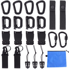 22Pcs Tactical Gear Clip Molle Attachments for Pouch Bags Backpack Vest Locking D-Ring Carabiner Screw Lock Hanging Hook Buckle(China)