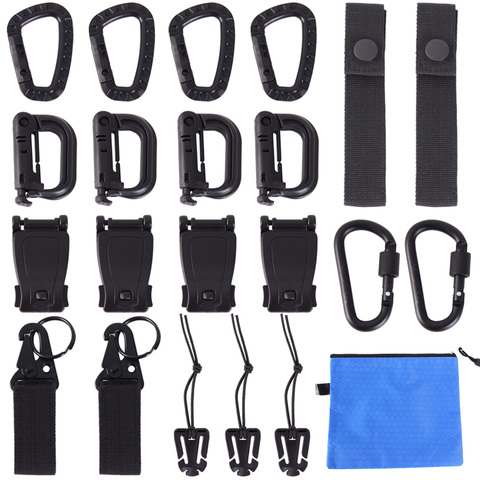 22Pcs Tactical Gear Clip Molle Attachments for Pouch Bags Backpack Vest Locking D-Ring Carabiner Screw Lock Hanging Hook Buckle Pakistan