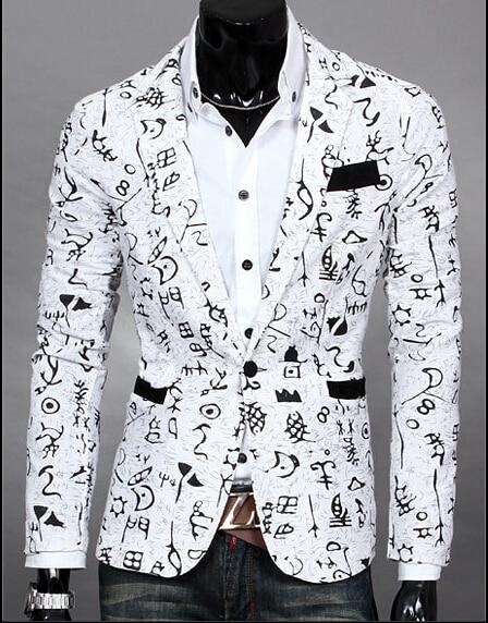 Mens black and white printed blazer