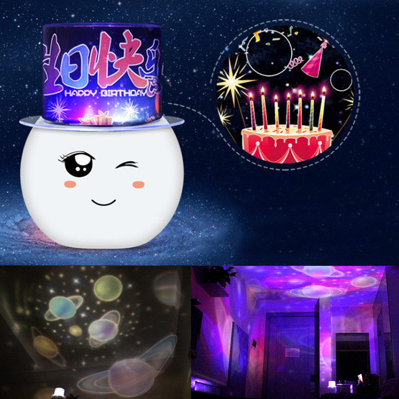 Colorful LED Projector Lamp Starry Star Moon Sky Projector Cute Night Light for Children Room ALI88