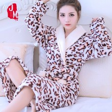 Autumn And Thickening Lovely Coral Down Robe Girls Long Fund Flannel Night Skirt Bathrobe Pajamas Woman Home Furnishing Serve
