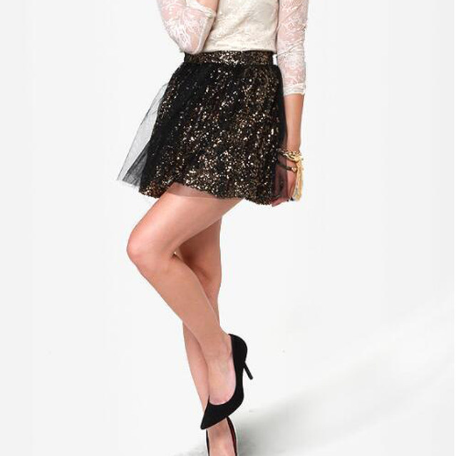 online shop sequin and tulle mini skirts summer 2017 black tulle