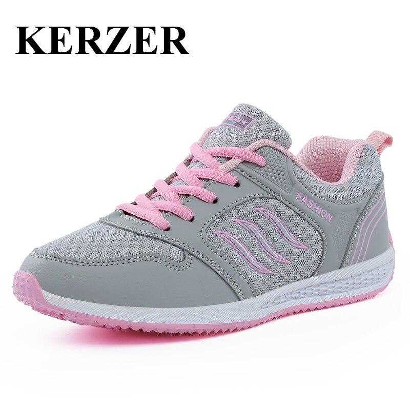 Kerzer女性athletic靴用ウォーキングジョギングスニーカー赤/ピンクオリジナルスポーツシューズ女性通気