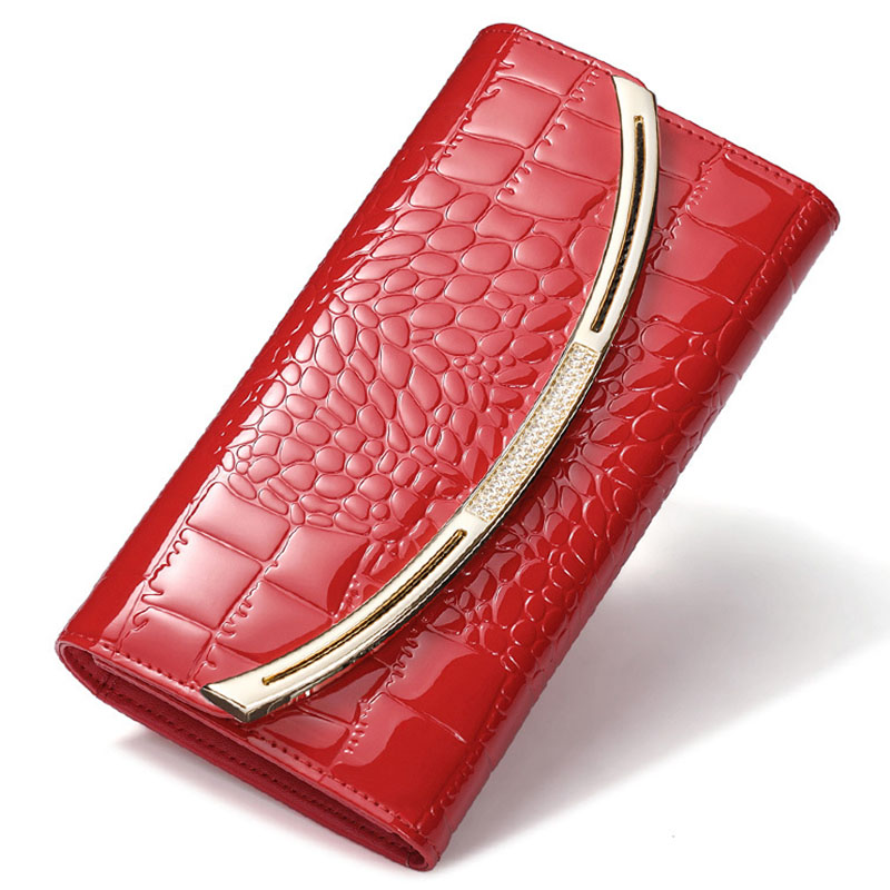 New Fashion Patent Leather Women Wallet Luxury Crocodile Long Clutch bag Leather Business Card Holder Coin Purse Free Shipping luxury crocodile grain card holder folio
