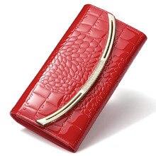 Neue Mode Lackleder Frauen Krokodil Lange handtasche Leder Visitenkartenhalter Geldbörse Kostenloser Versand