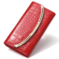 New Fashion Patent Leather Women Wallet Luxury Crocodile Long Clutch Bag Leather Business Card Holder Coin