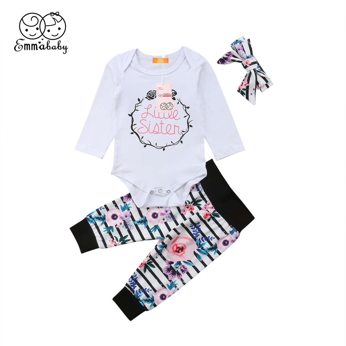 2018 Latest Children's Wear Little Sisters Clothes Kid Baby Girls Soft Cotton Floral Romper T-shirt Striped Flower Pants Outfits o ring belted striped shirt romper