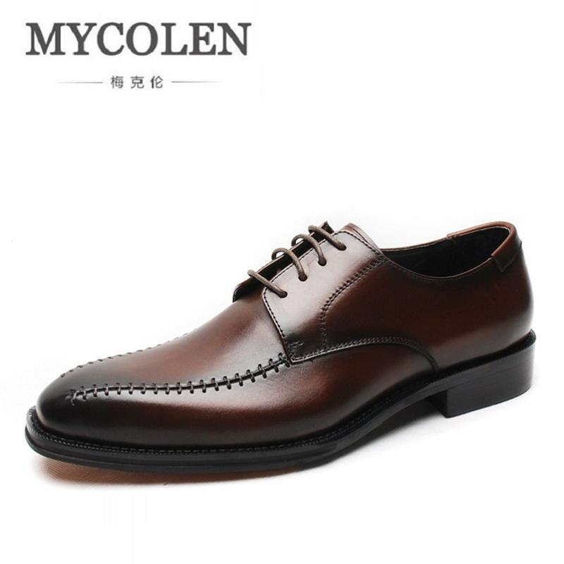 MYCOLEN Leather Men's Business Casual Shoes Men Oxfords Lace-Up Men Wedding Shoes Dress Black Male Party Autumn Dress Shoes patent leather men s business pointed toe shoes men oxfords lace up men wedding shoes dress shoe plus size 47 48