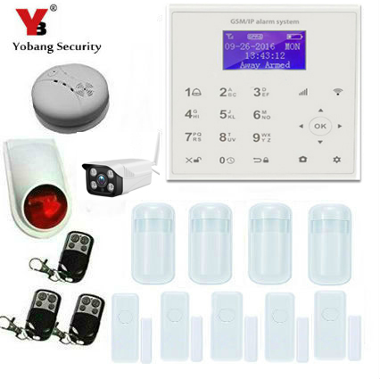 YobangSecurity WIFI Burglar Alarm Video IP camera Wireless GSM House Security Alarm System Outdoor IP Camera Smoke Fire Detector цена