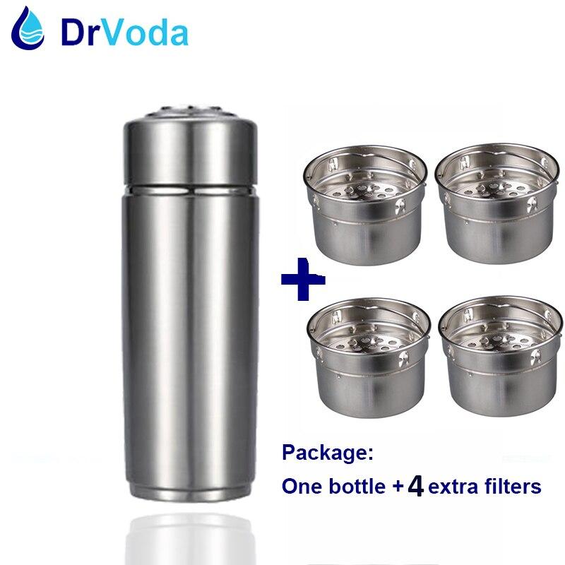 Nano minéral Portable eau alcaline pH Enhancer eau ioniseur tasse 4x remplaçable filtre cartouche hydrogène ions avec sac de voyage-in Filtres à eaux from Appareils ménagers    1