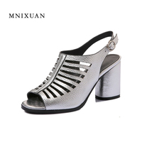Women Sandals Gladiator Plus Size 40 41 2017 New Arrival Summer Block High Heels Peep Toe