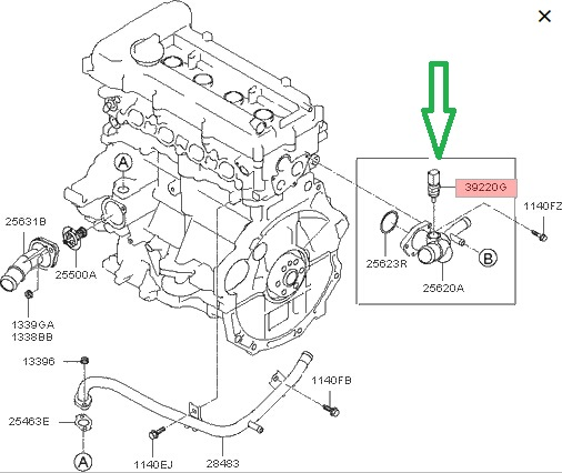 2005 kia sedona thermostat location