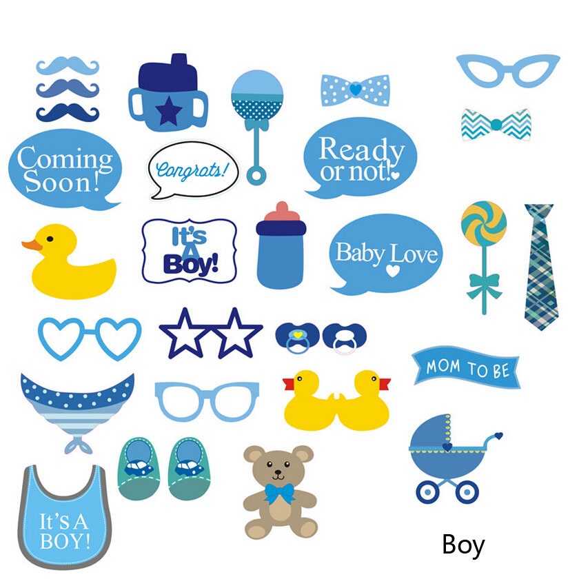 Hot 30Pc Party Gift Photo Booth Props DIY Bottle Baby Shower Boy ...