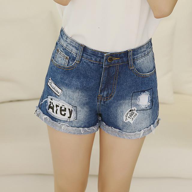 2017 Das Mulheres Denim Calças Curtas Mini Shorts Sensuais Para A Menina Das Senhoras Com Zíper Virilha Buraco Coreano Moda Tamanho Grande Patchwork Calções