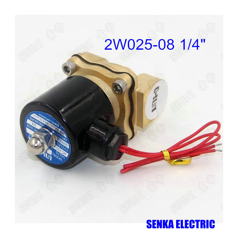 2W025-08 2 Way N/C 1/4 Air Water Valve Electric Brass Pneumatic Solenoid Valve for Gas Diesel DC12V/DC24V/AC110V/AC220V/AC380V 5 2 way airtac solenoid valve 4v series 4v330c 08 1 4 close centerr dc24v ac220v