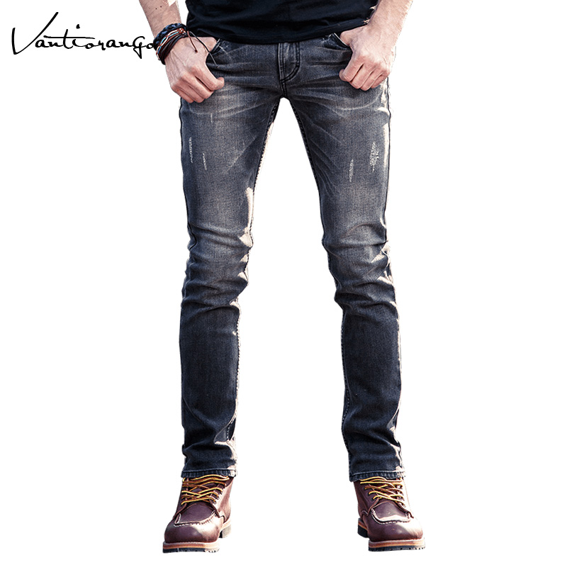 Vantiorango Mens Pants 2017 Summer Fashion Casual Young Elasticity Slim Male Trousers Grey Straight Denim Men Mid Jeans JYY0139 new design skinny mens jeans men brand fashion male casual cotton slim straight elasticity pants loose waist long trousers denim