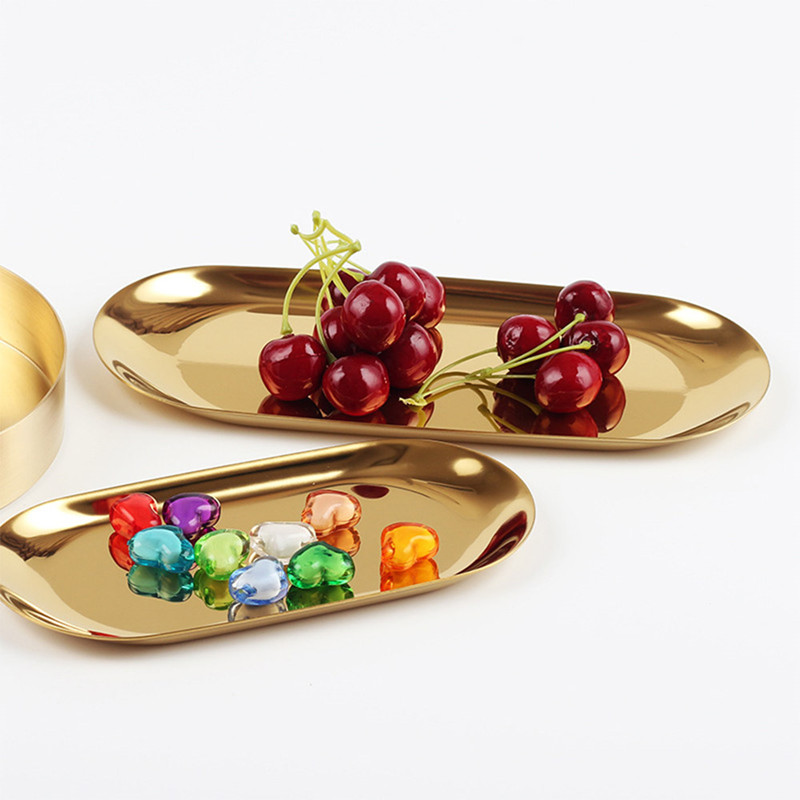 HIFUAR Metal Dishes Gold Oval Food Fruit Plates Small Tableware Dishes for Food Tray Kitchen Organizer Desk Accessories