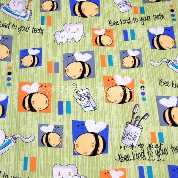 140X100cm Bee Kind to Your Teeth Green Polyester Cotton Fabric for Baby Girl Clothes Curtain Bedding Set Patchwork-AFCK501