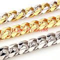 High Quality 15mm Silver/Gold/Silver Gold Tone Stainless Steel Cuban Link Chain Bracelet Or Necklace For Cool Men Jewelry 7-40""