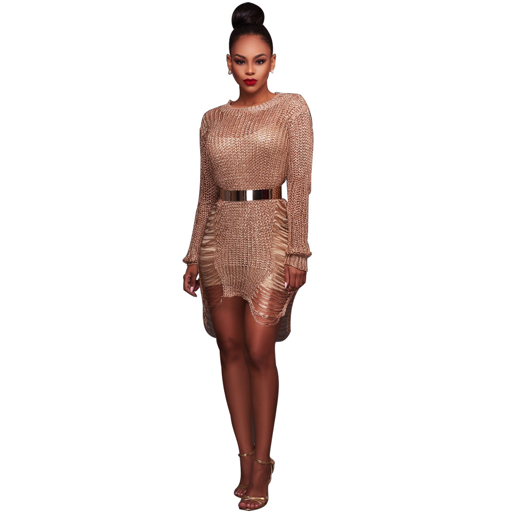 2018 Summer New Beach Sweater Dresses Women Sexy Long Sleeve Scratched Vestido Lady Party Club Rose Gold Knitted Dress AB056