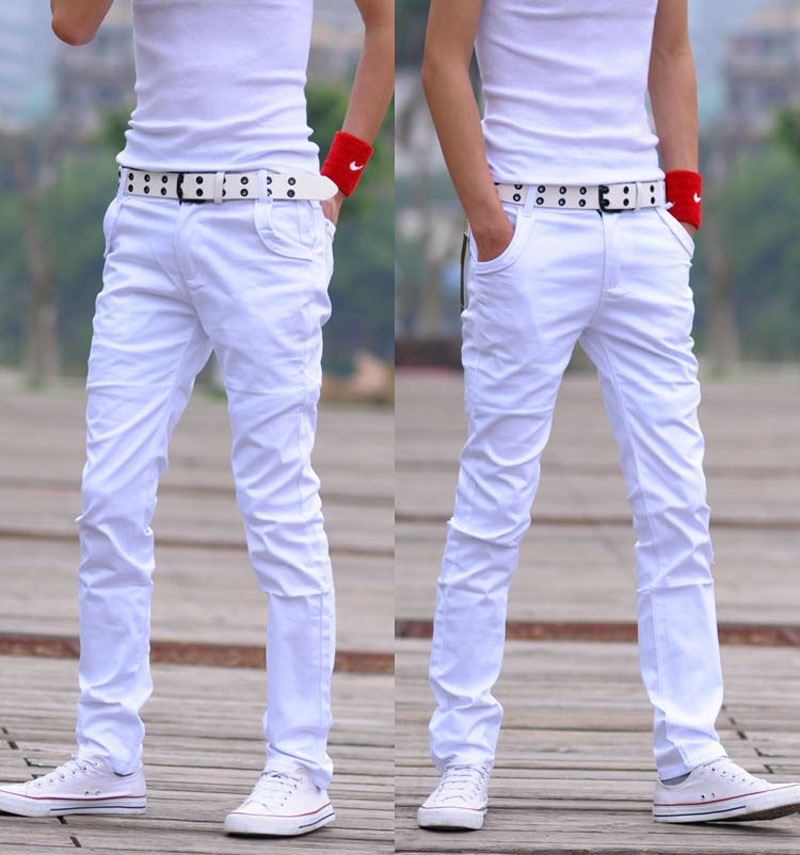 Male casual pants trousers skinny pants men's clothing men's white ...