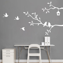 bedroom decor Self-Adhesive Bird Tree Vinyl Wall Stickers Decals Art Word Decoration decoracion hogar moderno(China)