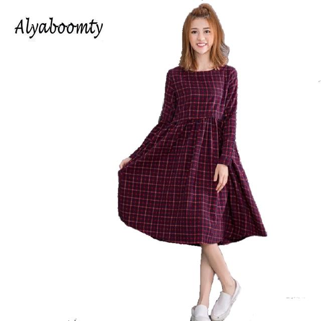 0b7ed4b2d4 2019 Vintage Spring Autumn Women Midi Dress Fashion O Neck Plaid Female  Vestidos Long Sleeve Retro Cotton Linen Dress M L XL 2XL