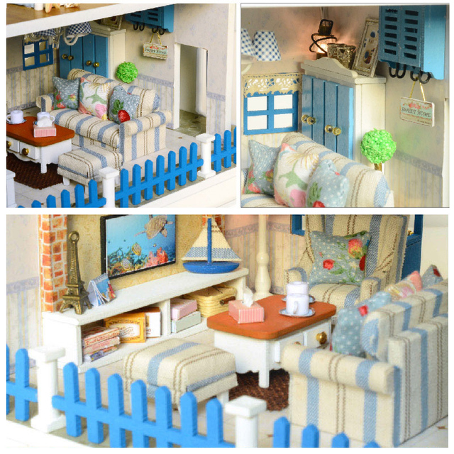 Blue and White Big Size Wooden DIY Doll House