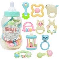 Nueva Marca bebé Recién Nacido campana de mano del juguete caja de regalo combinación sonajeros botella biberón grandes dientes muerden campanas campana juguetes