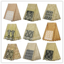 Golden 2019 African Beaded Tulle Lace Fabric High Quality Material Net French Embroidery Nigeria