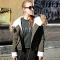 Alishebuy Plus Size Fashion Women Winter Army Green Faux Fur Collar Front Pocket Front Zipper Hooded Outwear Jacket Coats