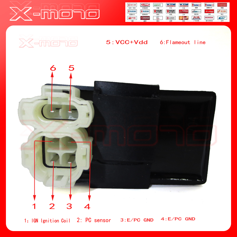 gy6 150cc wiring diagram tool to draw sequence 6 pins dc ignition cdi box for 125cc 200cc 250cc atv quads moped scooter buggy go kart ...