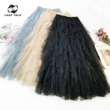 CARP TALE Fashion 2019 Spring Party Skirt Elastic High Waist Long Tulle Skirt Women Irregular Hem Mesh Tutu Skirt Ladies недорого