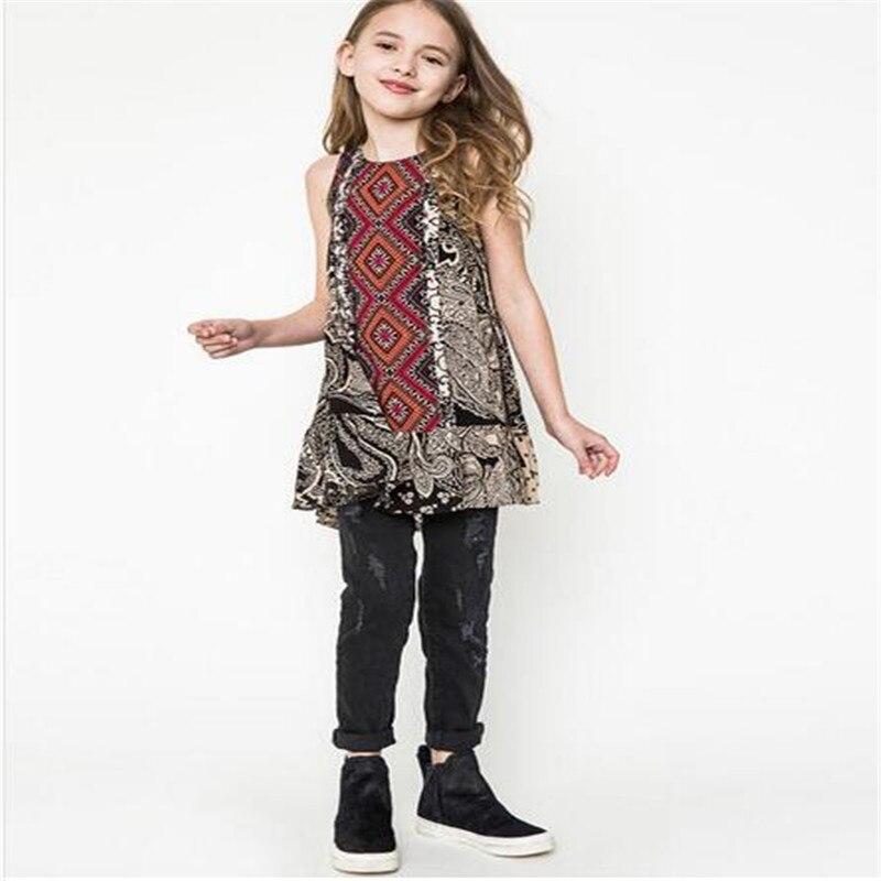2016 Summer big kids dress junior vintage floral vest dress ...