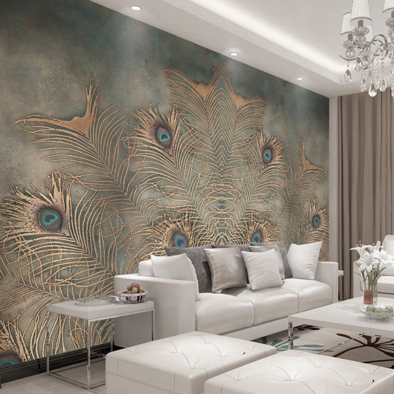 3d high quality modern fashion photo wallpaper luxury new Chinese style peacock feather wallpaper for living room bedroom TV-set beibehang chinese peacock feather flower