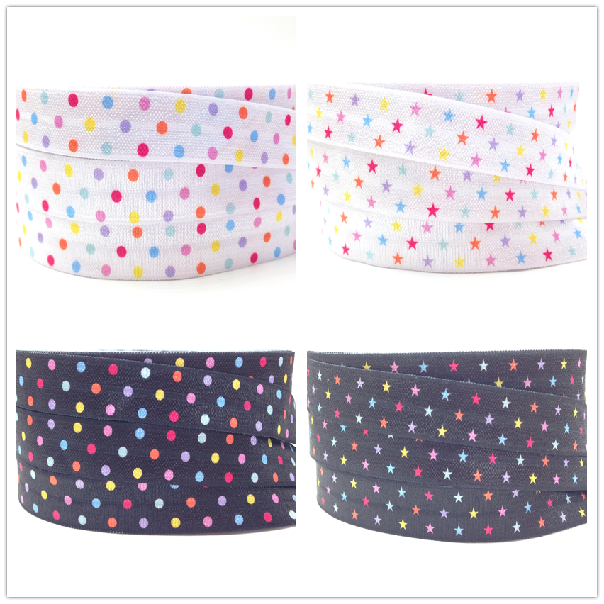 Amiable New Arrival Polka Dot Print Fold Over Elastic 5/8 Star Print Foe Ribbon 50yards/lot/color For Girls Hair Tie Diy Headwear Arts,crafts & Sewing Home & Garden
