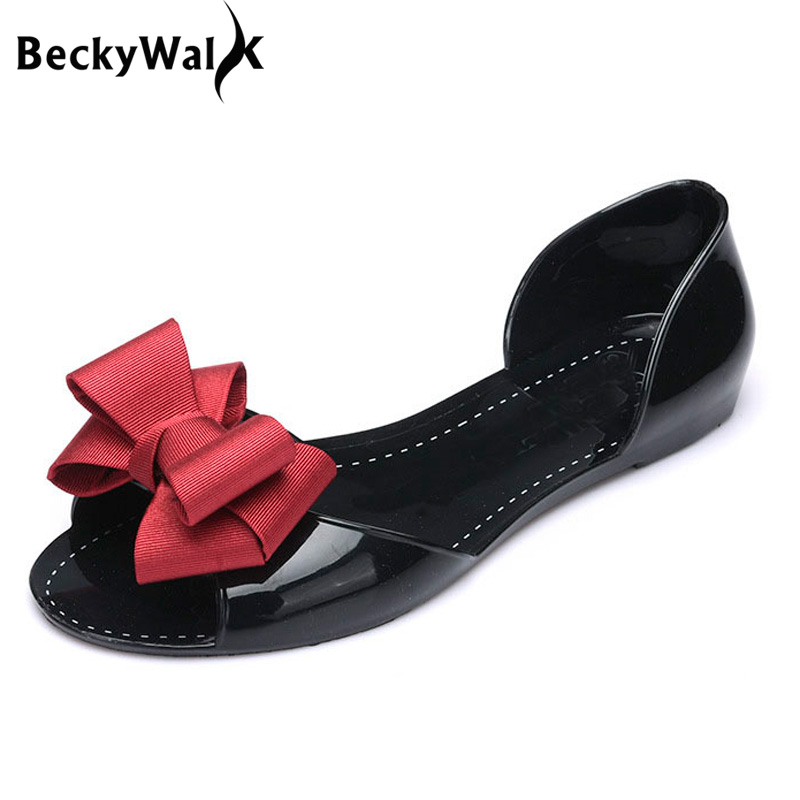 BeckyWalk Flat Sandals Beach Jelly Shoes Summer Bowtie