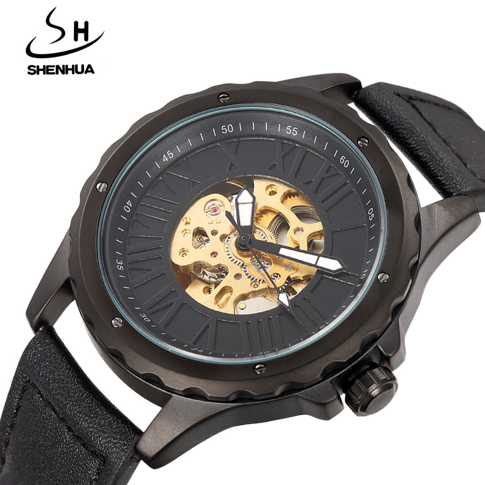 SHENHUA Men Watches Fashion Steampunk Black Leather Band Skeleton Automatic Mechanical Wrist Watches For Men Casual Men Watch shenhua 9587 men s skeleton pu band automatic mechanical analog wrist watch silver black