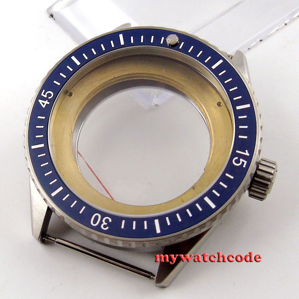 43mm blue ceramic bezel sapphire cystal Watch Case fit ETA 2824 2836 MOVEMENT 82 цена и фото