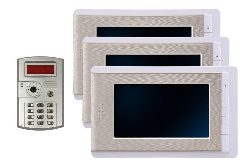 7 Inch LCD Color Video Door Phone Doorbell Intercom Entry System Kit Unlock Night Vision Monitor and Rainproof IR Camera 1V3