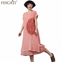 Long Loose Baggy Dresses 2018 Spring Summer Cotton Linen Tie Dye Colored Floral Embriodery Double Layers Boho Vintage Retro