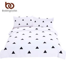 BeddingOutlet Geometric Bedding Set Duvet Cover Set with Pillowcases Black and White Home Textiles Simple Printed Hot
