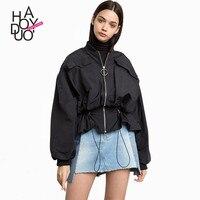 Haoduoyi Spring Autumn Western Style Fashion Loose Drawstring Solid Color Long Lantern Sleeve SM L XL