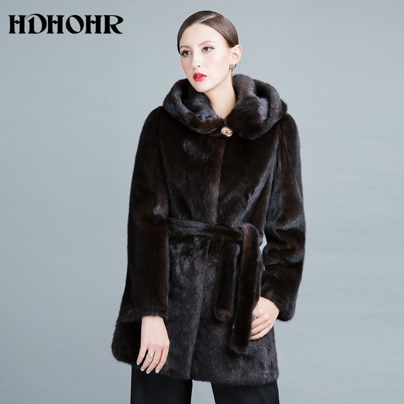 HDHOHR 2019 Real Mink Fur Coats Women New Fashion Winter Thick Warm With Hood Female Outwear Natural Fur Jackets  For Girls