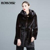 Hdhohr 2018 натуральный мех норки пальто Новинки для женщин модные зимние толстые теплые с капюшоном женские пиджаки натуральный мех Куртки для