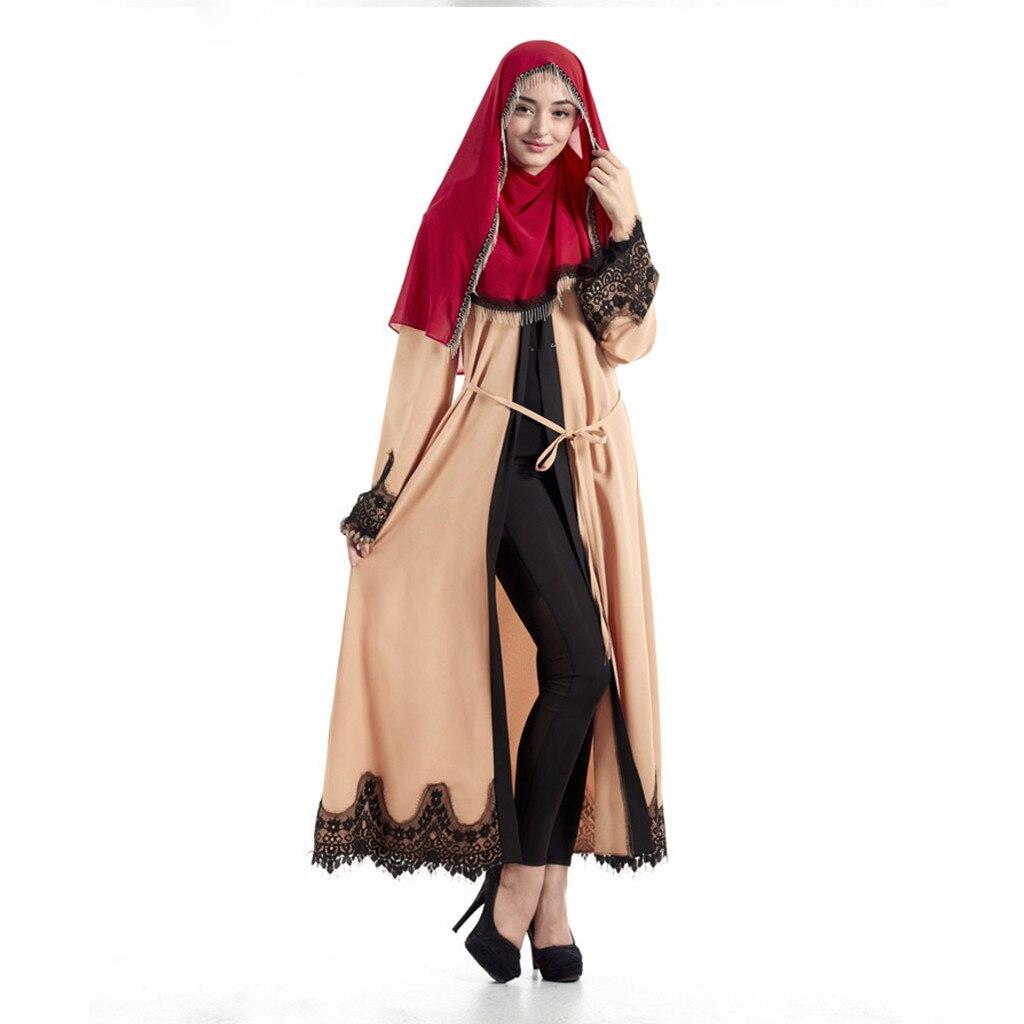Women Kaftan Cotton Striped Islamic Arab Elegant Muslim Abaya Dress Cardigan Robe Turkish Hijab Islamic Prayer Clothing_3.29