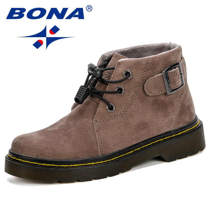 BONA nuevas niñas Martin botas 2019 niños zapatos primavera otoño Flock niños botas moda cómodos niños botas calientes botas de invierno